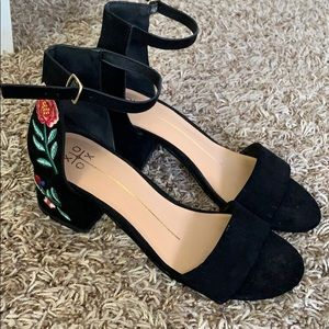 Embroidered heels, hardly worn